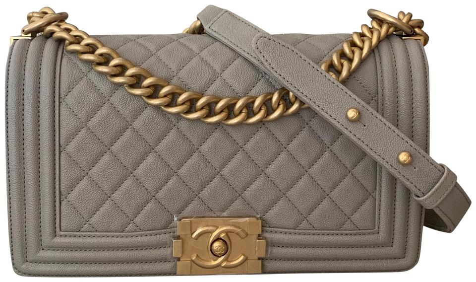 2df7b26ac52a Chanel Classic Flap Boy Quilted Medium Antique Gold Chain Grey ...