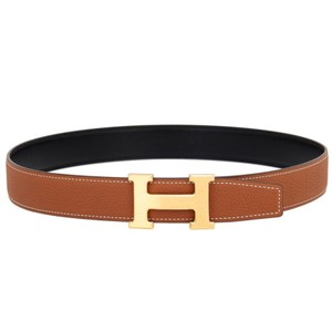 Hermès CONSTANCE 85cm Medium Reversible Black/Gold Tan Leather Brushed H Buckle Kit Ghw 32mm