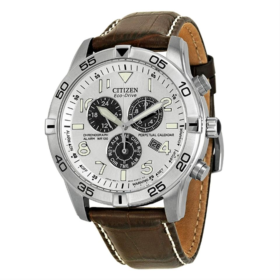 s perpetual calendar i brown citizen men eco chronograph silver drive watch watches leather