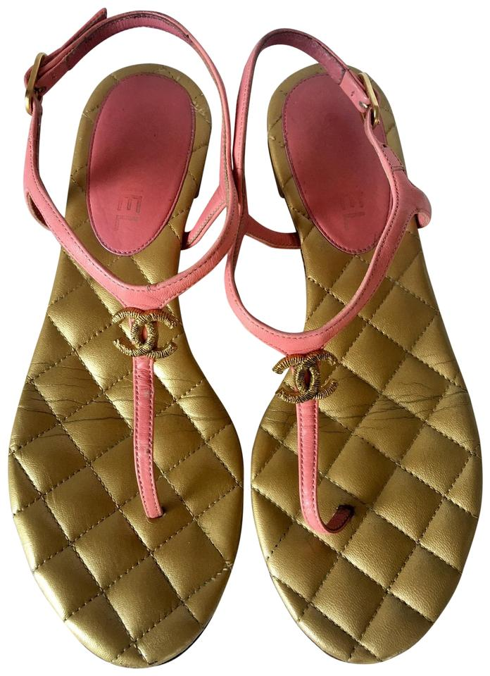 7bae28b7ad68 Chanel Pink Gold Quilted Cc Leather Thong Ankle Strap Sandals Size ...