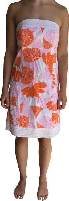 Lilly Pulitzer Pink/Multi Bowen Strapless Printed Trapunto Lilly's Seeing Double Short Casual Dress Size 10 (M) Lilly Pulitzer Pink/Multi Bowen Strapless Printed Trapunto Lilly's Seeing Double Short Casual Dress Size 10 (M) Image 1