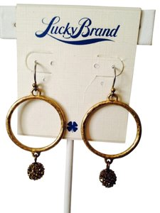 Lucky Brand NWT Gold-Tone Pave' Ball Hoop Earrings