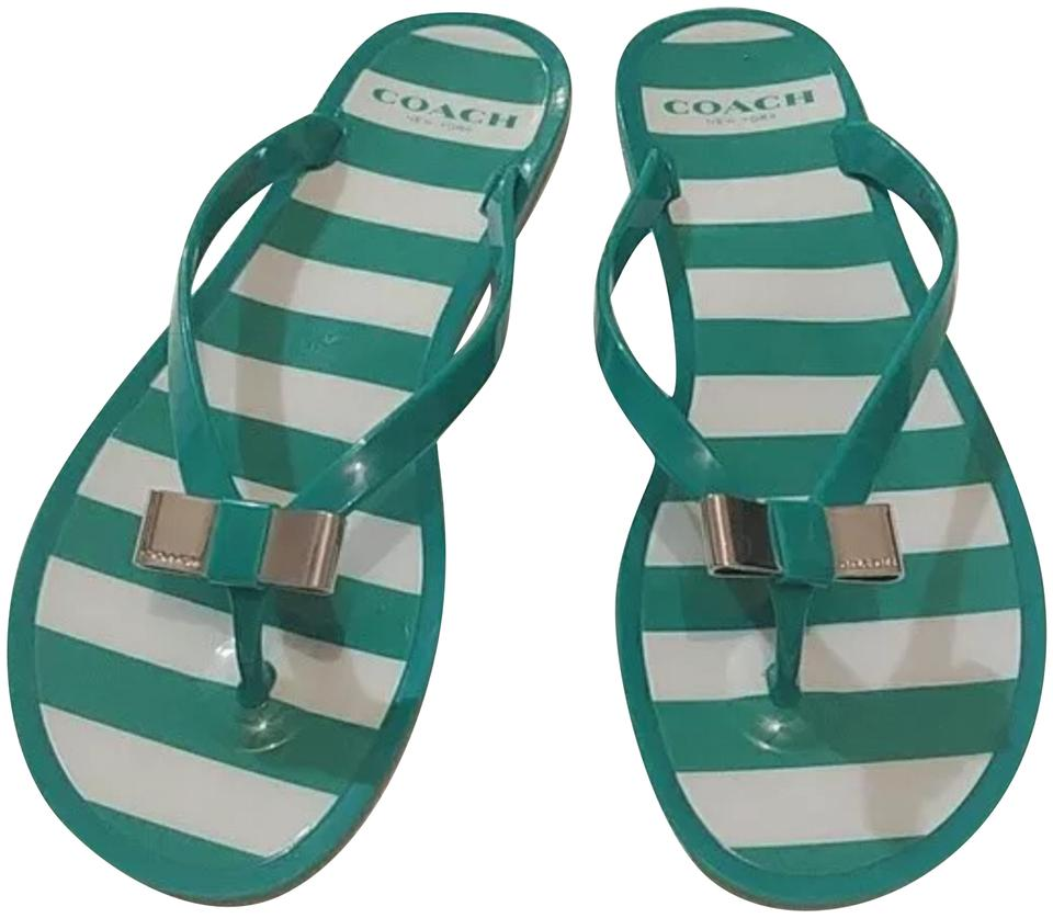 f82fb4720f0335 Coach Green and White Landon Jelly Women s Flip Flop Sandals Size US ...