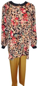 Maggie Sweet Maggie Sweet Tunic Pants Suit 2 Piece Outfit Floral Print #925 Vintage