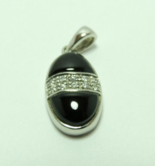 New'new' 925 Sterling Silver + Platinum Black Onxy Pendant P010631