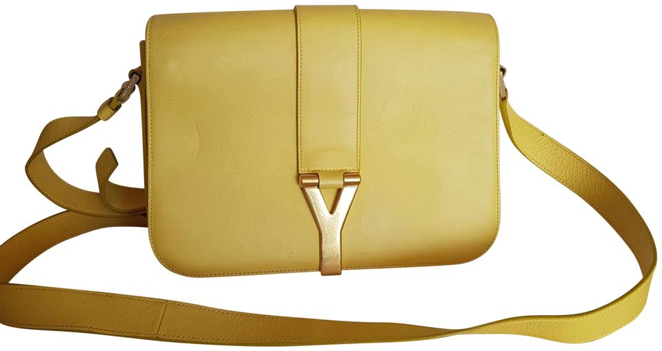 4e94ee8d29a Saint Laurent Shoulder Ysl Sac Ligne Y Flap Yellow Leather Cross ...