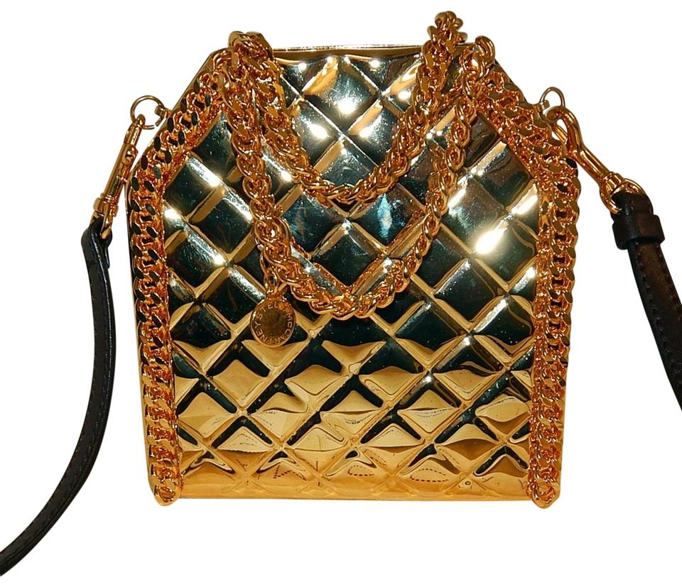 1a4ac117d7 Stella McCartney Quilted Chain Italy Gold Metal Cross Body Bag - Tradesy