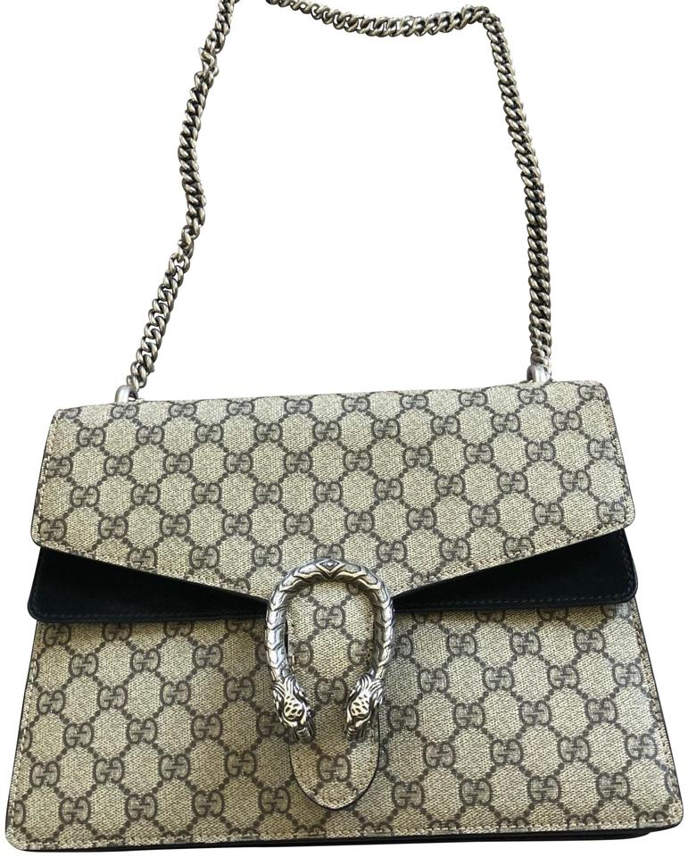 e9ea642b195 Gucci Dionysus Gg Supreme Medium Canvas Taupe Leather Shoulder Bag ...