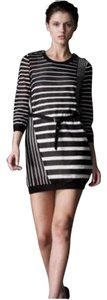 3.1 Phillip Lim short dress Black, White Open Striped Belted on Tradesy