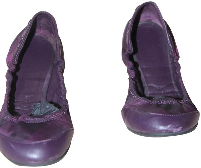 Item - Purple Check Print Ballerina Flats Size US 7.5 Regular (M, B)