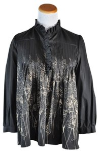 Thomas Wylde Silk Pleated Skull Owl Top Black Gold