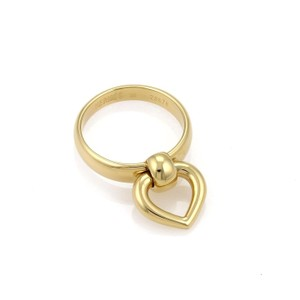 Hermès 18k Yellow Gold Heart Dangle Charm 4mm Wide Band Ring Size 50-US 5.25