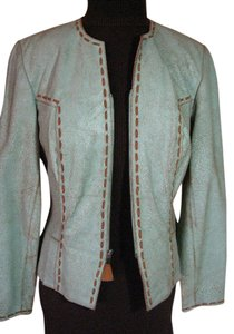 Double D Ranchwear Distressed Suede Pick Stitching Light turquoise Leather Jacket