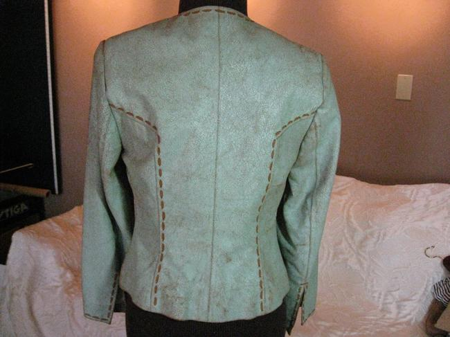 Double D Ranchwear Leather Distressed Suede Pick Stitching Light turquoise Leather Jacket