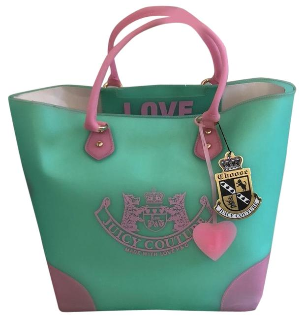 Item - Jelly Pvc Tote Pink and Mint Green Plastic Beach Bag