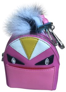 Fendi Fendi Mini Monster Pink Nylon Fur Leather Backpack Bugs Key Ring/Charm