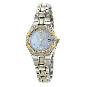 Seiko Solar Two-Tone Stainless Steel Mother Of Pearl Dial Ladies Dress Watch