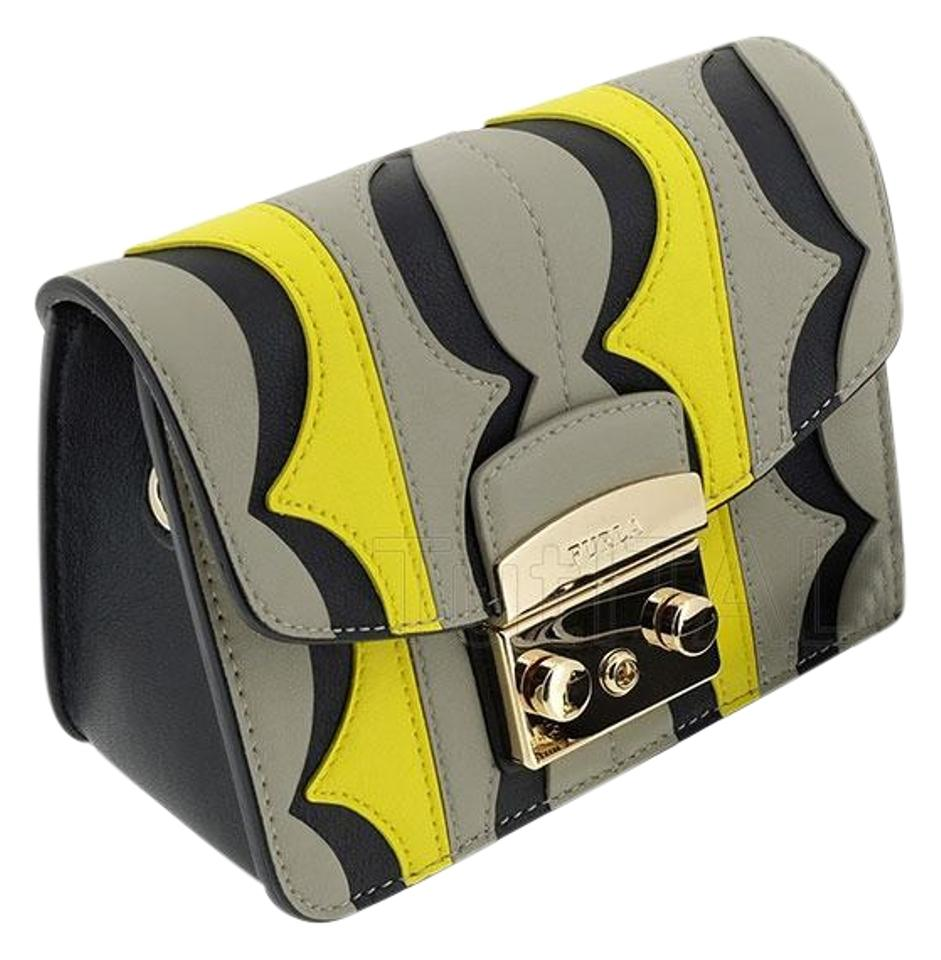 Furla Yellow Optical Print Metropolis Mini Multicolor Leather Cross Body Bag