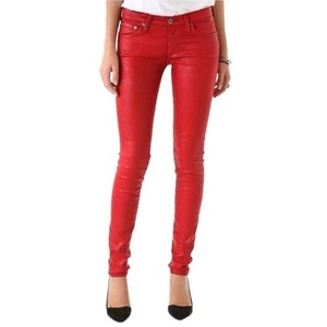 AG Adriano Goldschmied Faux Leather Coated Waxed Skinny Pants Red