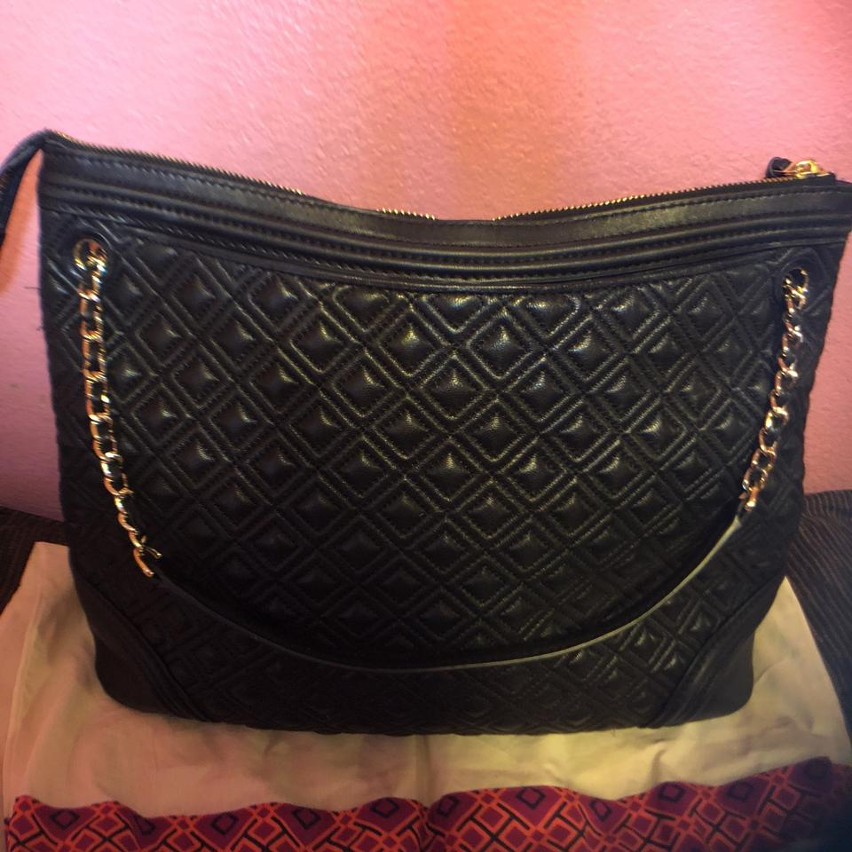 Bag Leather Burch Quilted Black Tote Lambskin Fleming Tory Shoulder n8YwOqBO