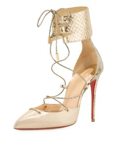 Christian Louboutin Made In Italy Luxury Designer Red Sole Pointed Toe Light Gold Pumps