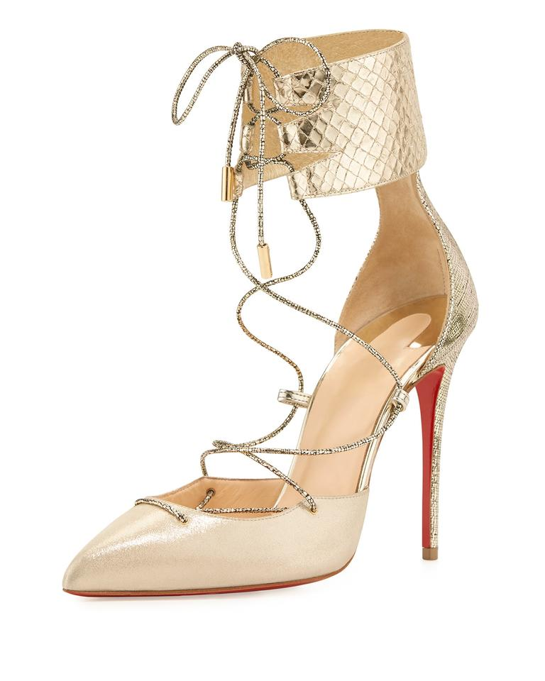 ed43c535925 Christian Louboutin Light Gold Corsankle Lace-up Pointed Toe 100mm Red Sole  Pumps