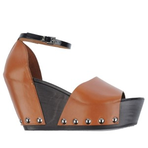 Vic Matié Leather Wedge Ankle Strap Studded Brown Platforms