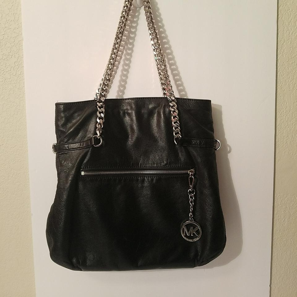 Michael Kors Purse Silver Chain Straps Black Lambskin