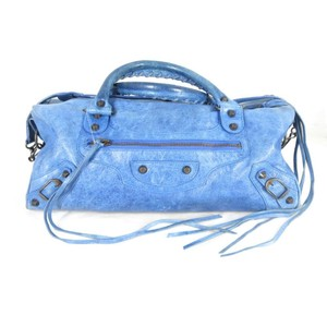 Balenciaga Leather Small Satchel in Blue