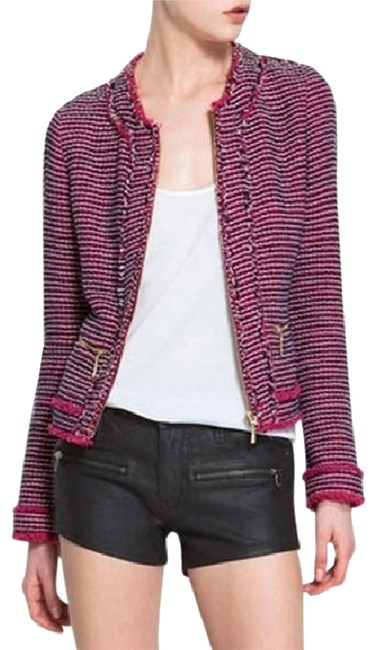 Item - Pink / Blue / White Tweed Fringe Jacket Size 0 (XS)