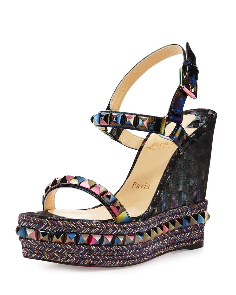 a8545d89464 Christian Louboutin Black Multi Cataclou Studded Printed 120mm Wedge Red  Sole Sandals Size EU 38 (Approx. US 8) Regular (M, B) 35% off retail