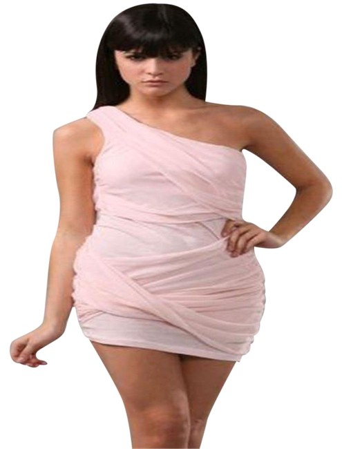 Item - Dusty Pink Wrapped Goddess Grecian One Shoulder Draped Mid-length Night Out Dress Size 8 (M)
