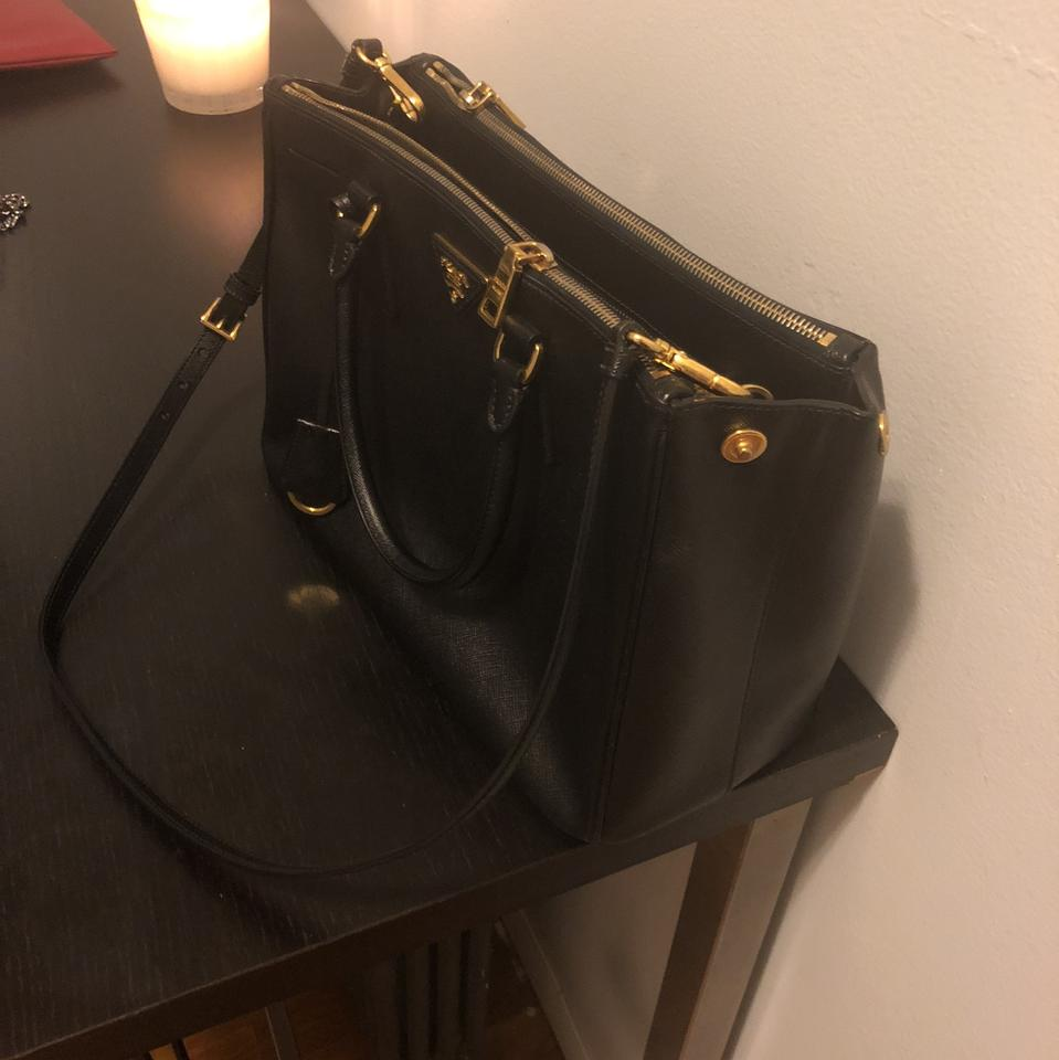 Satchel Galleria Medium Prada Saffiano Leather Black wXYBqFAx