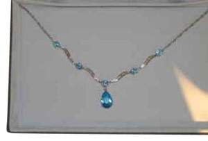 Macy's Blue Topaz and Diamond White Gold Necklace