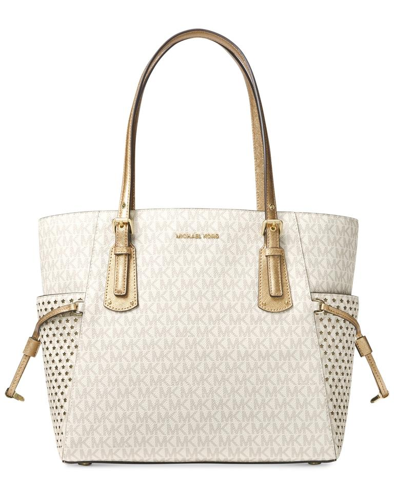 04759424ba ... free shipping michael kors signature voyager east west signature  shoulder tote in vanilla gold star studd