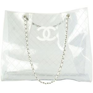 Chanel Transparent Vintage Spring 2018 Rtw Limited Edition Tote in Clear and White