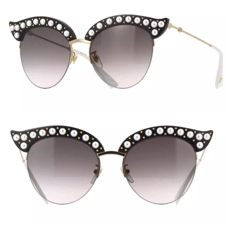 ed09dea3a0 Gucci Black White Gold Gray Faux Pearls Cat Eyes Sunglasses - Tradesy