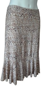 Chaps Tulip Ikat Flounce Skirt brown, ivory