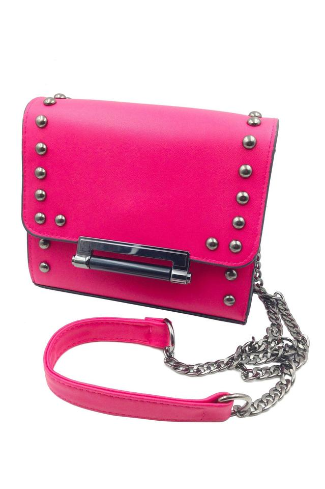 Cute Small Lady Purse Pink Faux Leather Shoulder Bag