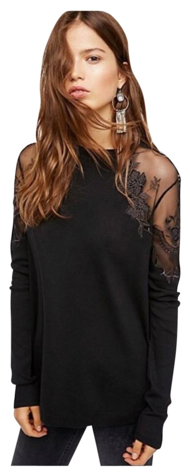 4af9d1907e3825 Free People Black Floral Mesh Lace Long-sleeve Blouse Size 6 (S ...