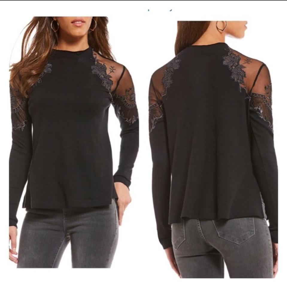 b947853eb2e3a7 Free People Black Floral Mesh Lace Long-sleeve Blouse Size 6 (S) - Tradesy