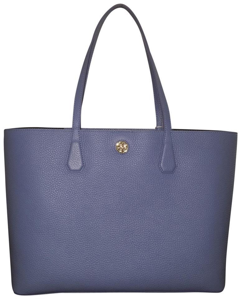 Tory Burch Perry Brody Montego Blue  Navy Leather Tote - Tradesy