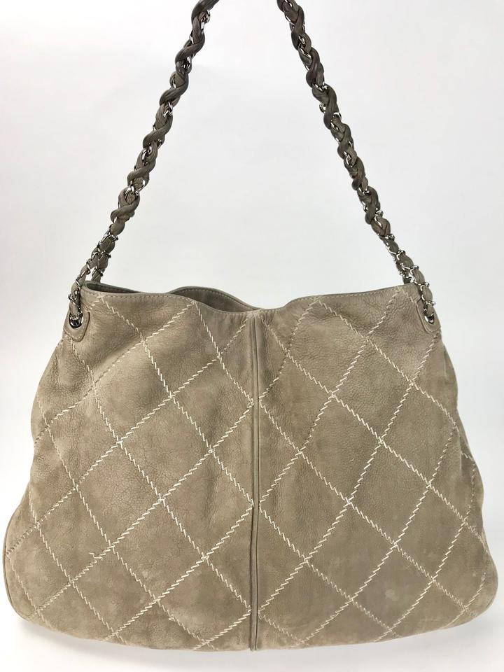 5a3072522f24 Chanel Suede Darjeeling Light Grey Leather Hobo Bag - Tradesy