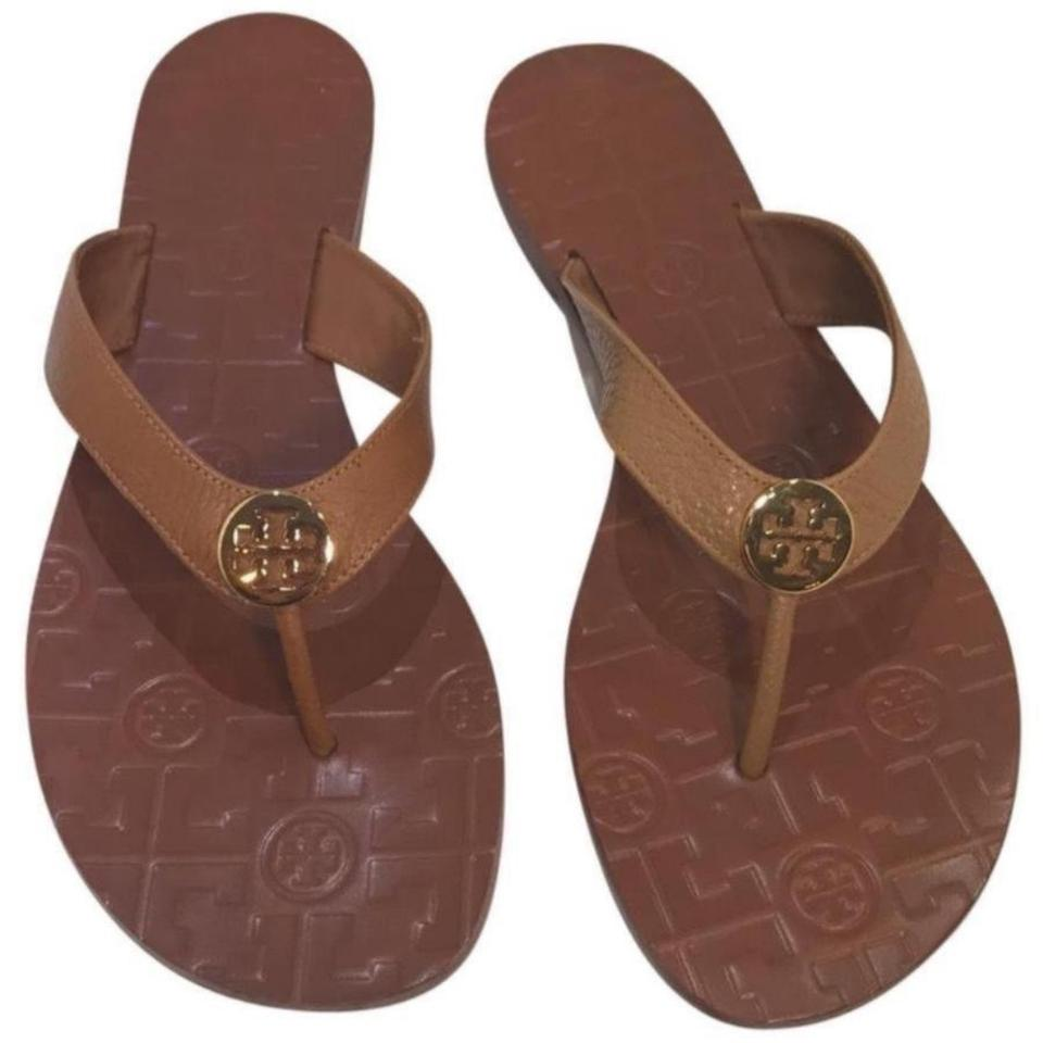 52fcdf1d1cea Tory Burch Royal Tan Thora Tumbled Leather Thong Sandals Size US 10 ...