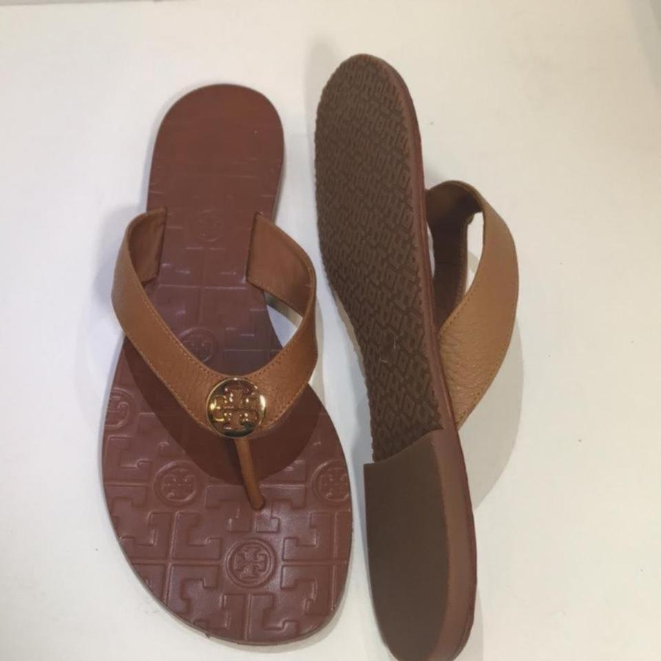 cb2f54875 Tory Burch Royal Tan Thora Tumbled Leather Thong Sandals Size US 10 ...