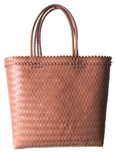 Tote Market Plastic Mauve and Mustard Beach Bag
