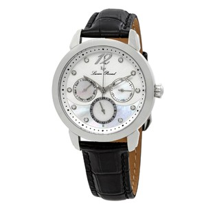 Lucien Piccard Rivage Mother of Pearl Black Leather Arabic Numerals Ladies Watch