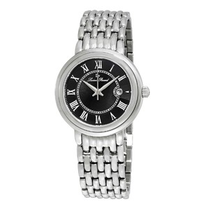Lucien Piccard Stainless Steel Silver Tone Black Dial Ladies Bracelet Watch