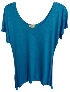 Eyelash Couture Top teal with silver sparkle