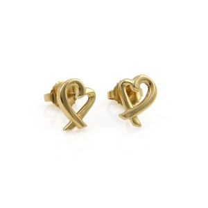 Tiffany & Co. Paloma Picasso Loving Heart Stud 18k Yellow Gold Earrings